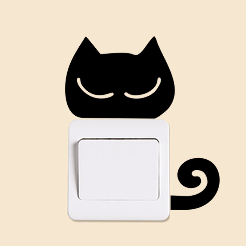 Black Cat Tail Curl Cute Animal Wall Stickers
