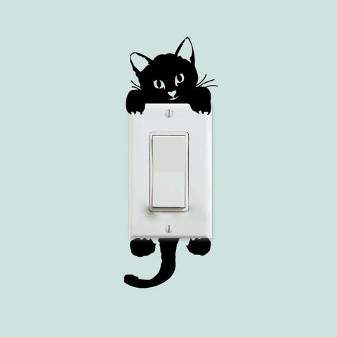 Black Cat Hanging Out Cute Animal Wall Stickers