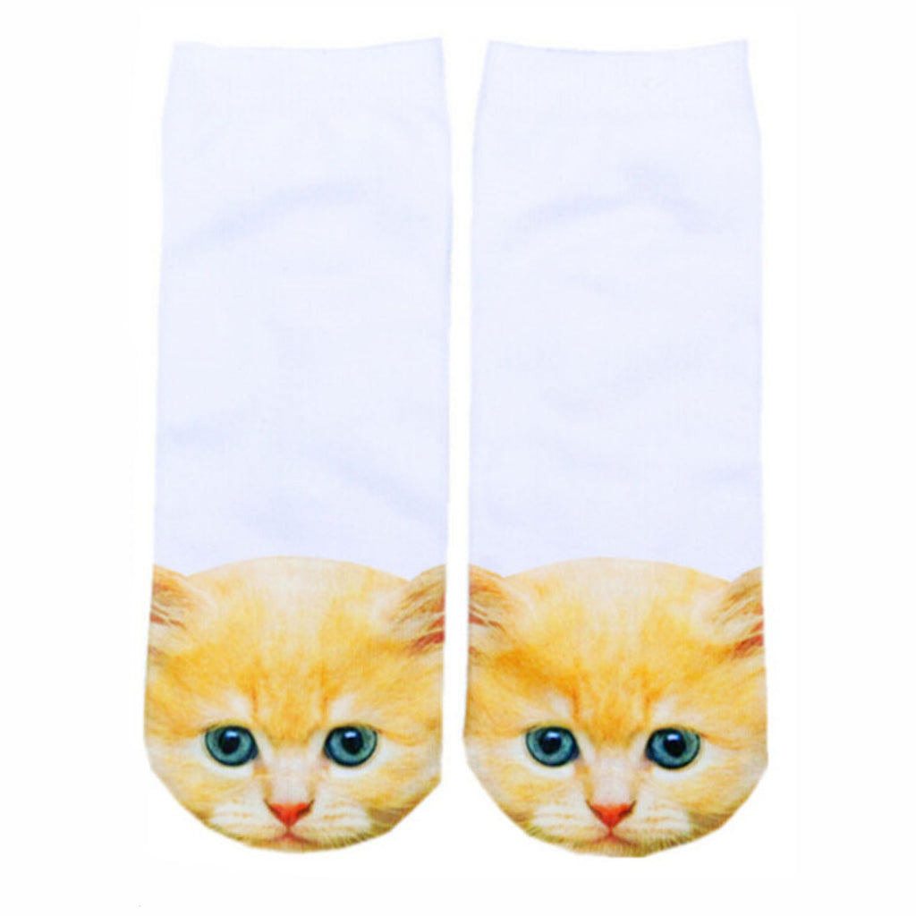 Orange Cat Adorable Cotton Animal Socks