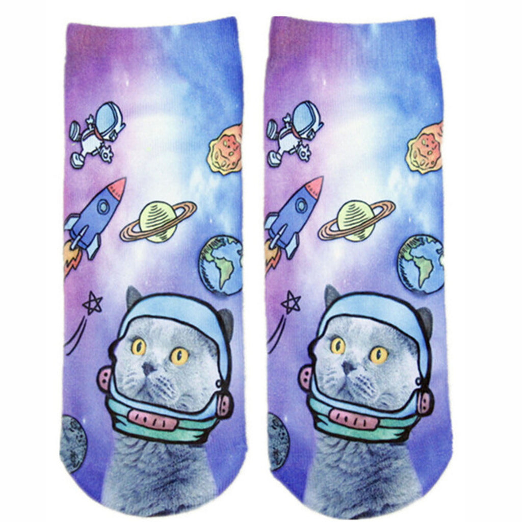 Galaxy Cat Adorable Cotton Animal Socks