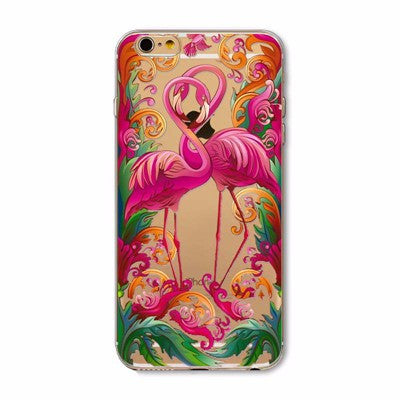 Flamingo Love Transparent Cute Phone Case for Apple iPhone 5/5s, SE, 6/6s, and 6/6s plus