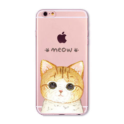Meow Cat Orange Big Eyes Transparent Cute Phone Case for Apple iPhone