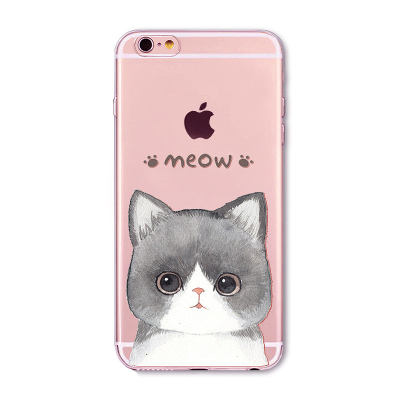 Meow Cat Big Eyes Transparent Cute Phone Case for Apple iPhone