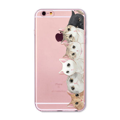 Cat Family (Right Side) Transparent Cute Phone Case for Apple iPhone