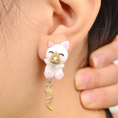 White and Tan Cat Handmade Polymer Clay Animal Stud Earrings
