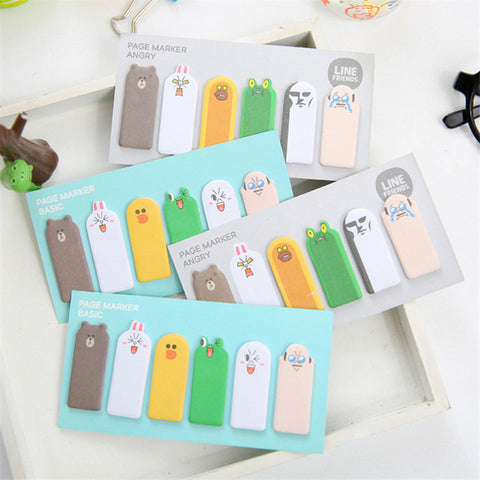 Small Happy or Angry Animal Page Markers/Post Its - D'aww Factory