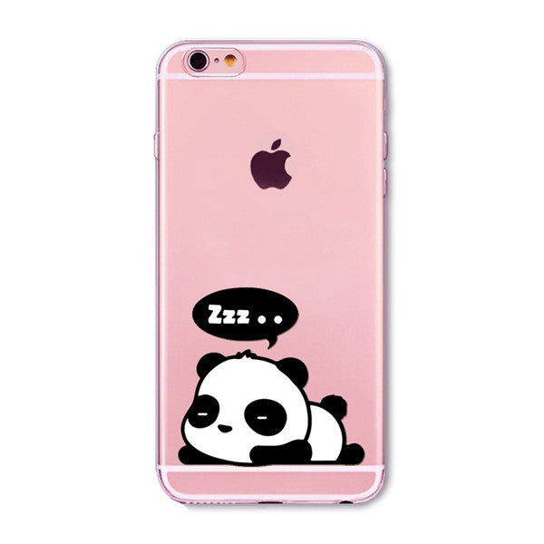 Sleeping Panda Transparent Cute Phone Case for Apple iPhone