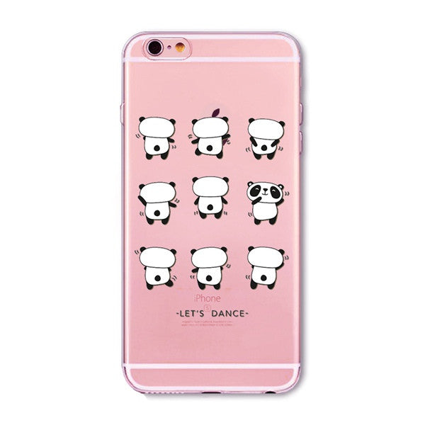 Dancing Pandas Transparent Cute Phone Case for Apple iPhone