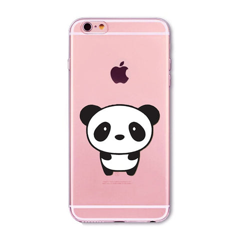 Sweet Panda Transparent Cute Phone Case for Apple iPhone
