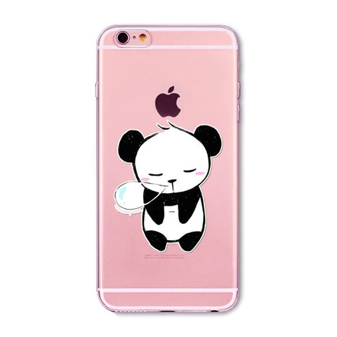 Drooling Panda Transparent Cute Phone Case for Apple iPhone