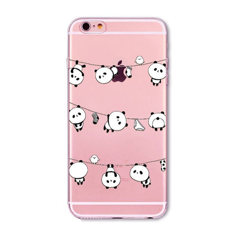 Pandas Hanging Out Transparent Cute Phone Case for Apple iPhone