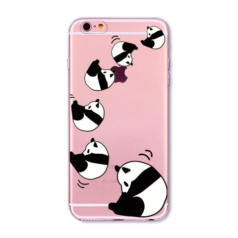 Rolling Panda Transparent Cute Phone Case for Apple iPhone
