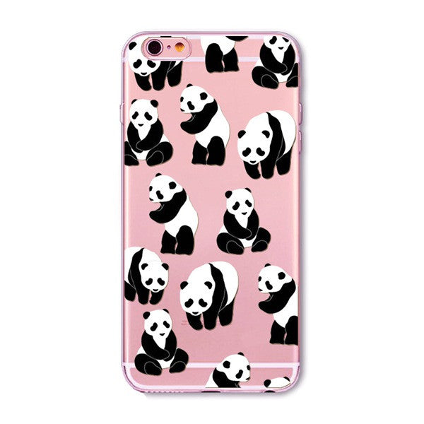 Pandas Chillin' Transparent Cute Phone Case for Apple iPhone