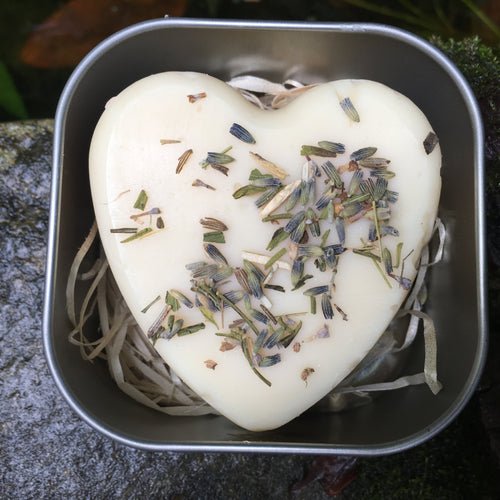 Heart shaped soap in a tin - every variety available