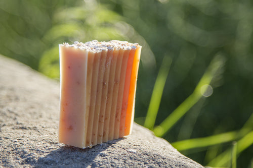 Lemongrass, Ginger & Oat Soap unwrapped