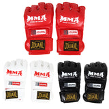 1Pair PU Leather Half Mitts Mitten MMA Muay Thai Train Gym Gloves