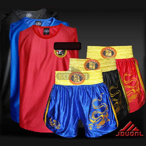 Dragon Embroidery Sanda/Muay Thai/Boxeo/MMA/Taekwondo/Boxing Clothes Sets Shorts+Jersey
