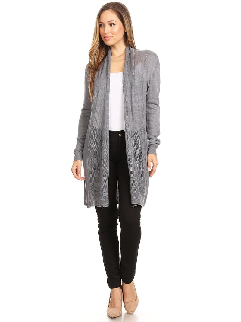Casual Mesh Front Panel Cardi
