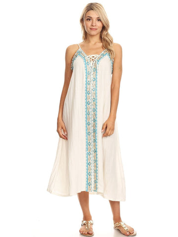Anna-Kaci Casual Caftan Boho Embroidered Long Maxi Swimsuit Cover up Beach Dress