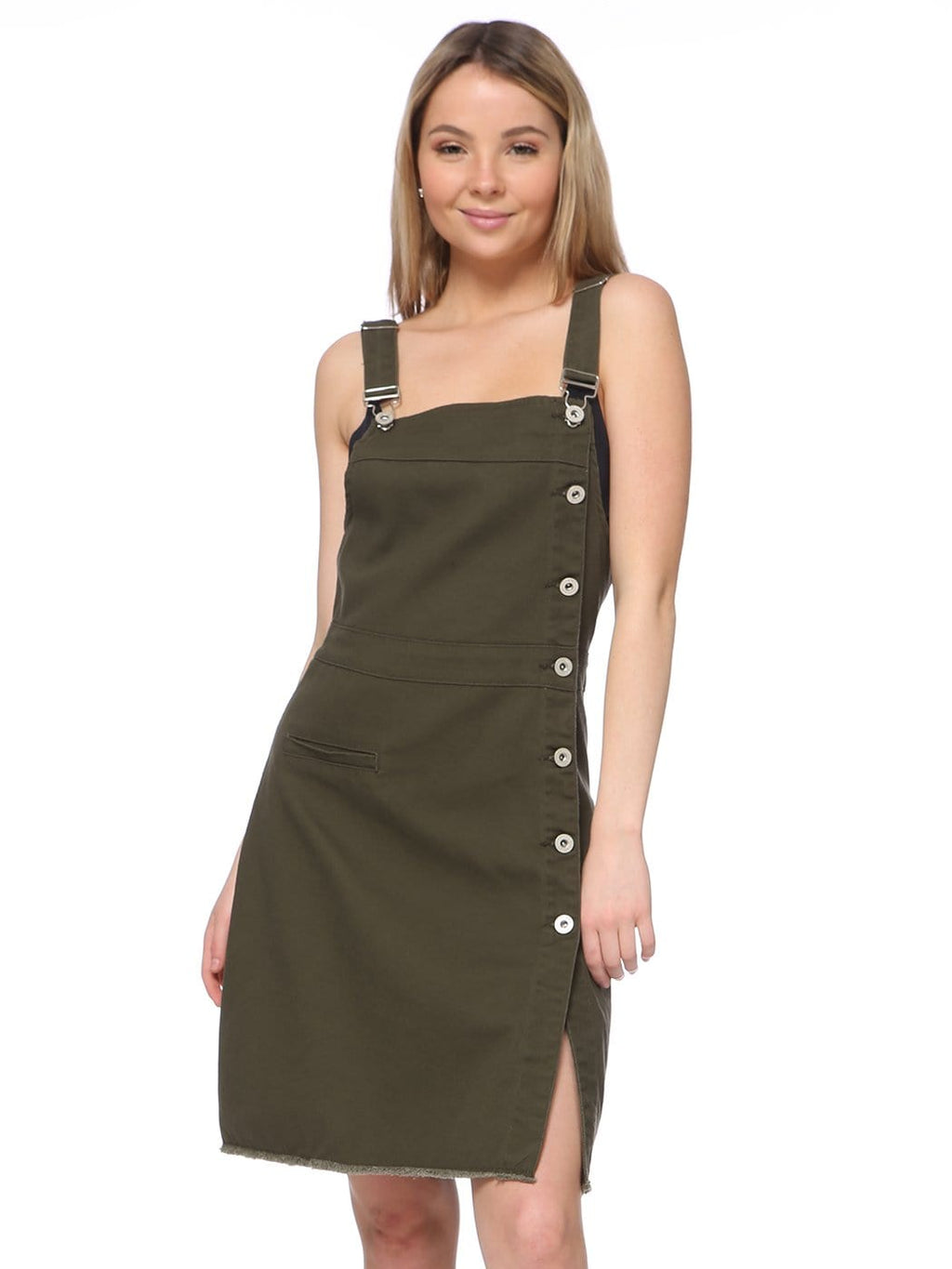 Adjustable Side Button Denim Overall Dress