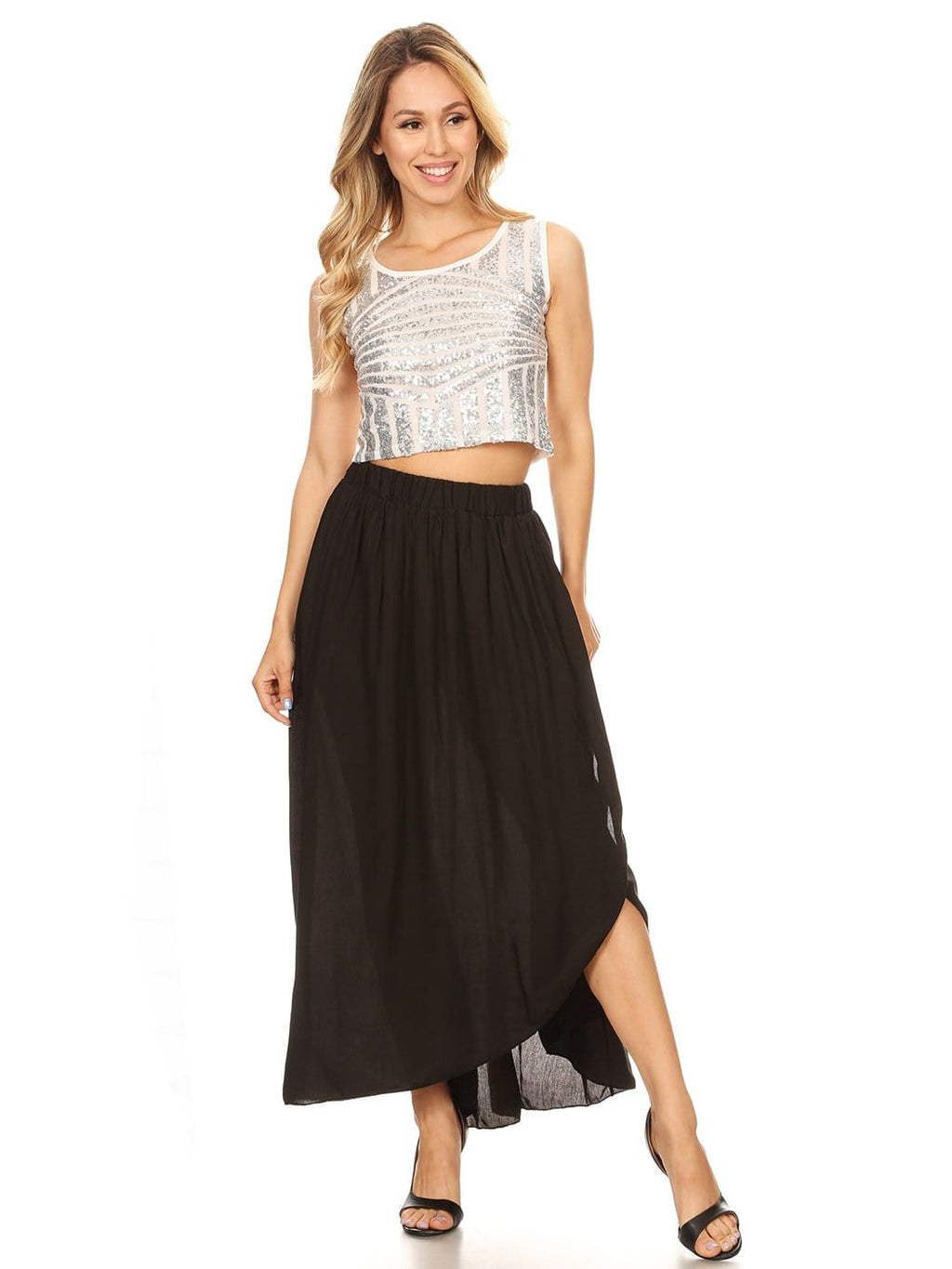 Boho Elastic High-Waist Maxi Skirt