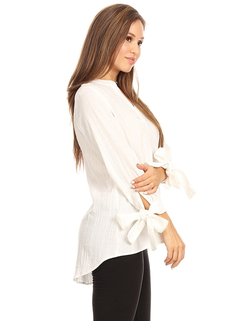 Pleated Split-Tie Sleeve Blouse