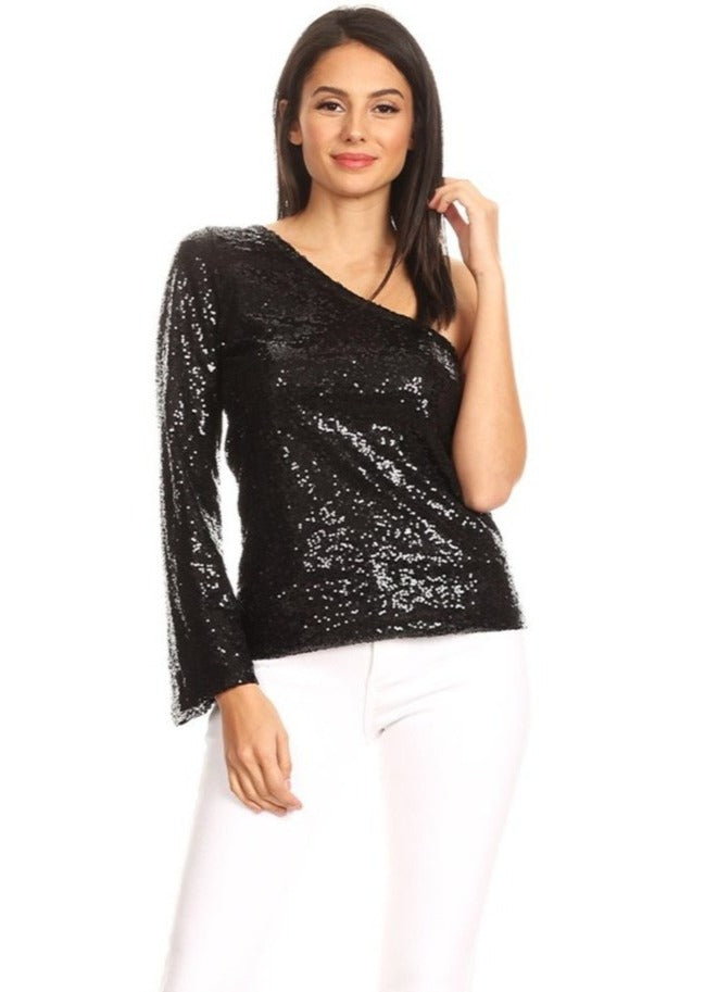 Sexy One Shoulder Sequin Top Party Blouse T-Shirt