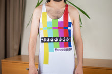 """Beep"" Full Print Tank Top for Men (White)"