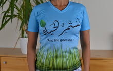 """And life goes on..."" Full Print V-Neck T-shirt for Women"