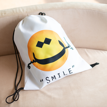 """Smile"" Drawstring Bag (White)"