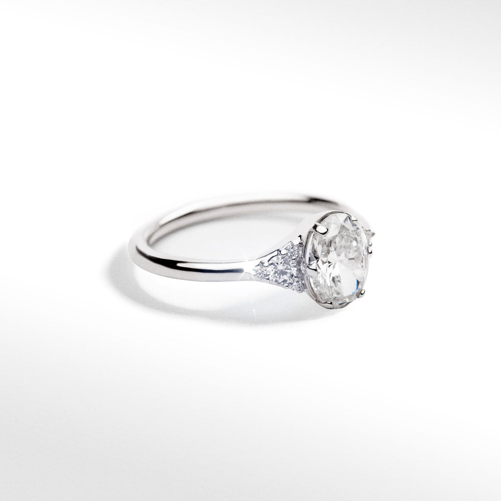 Oval Multi-Stone Ring 14k White Gold