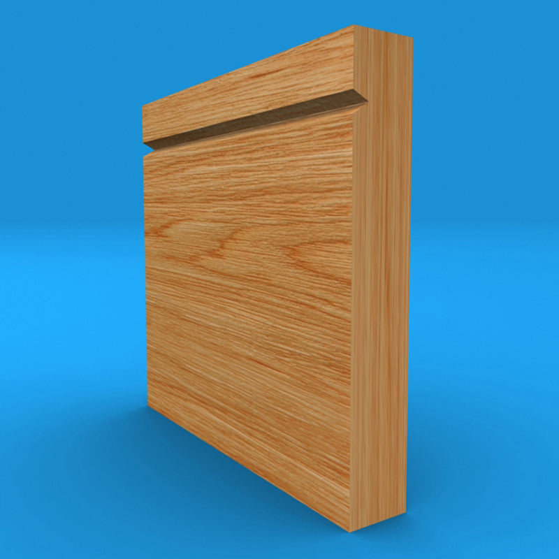 Square Edge V Grooved Solid Oak Skirting Board