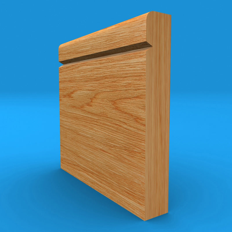 Bullnose V Grooved Solid Oak Skirting Board