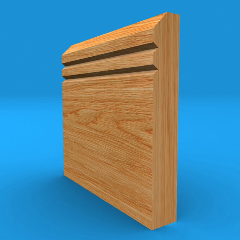 Edge V Grooved 2 Solid Oak Skirting Board