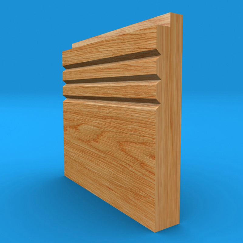Single Step V Grooved 3 Solid Oak Skirting Board