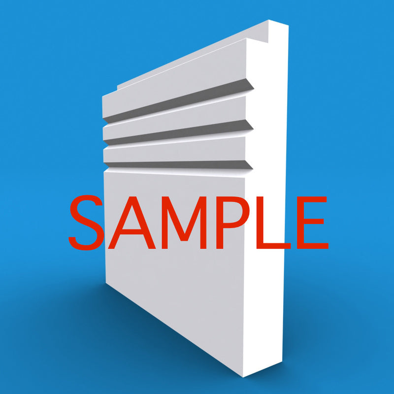 Single Step V Grooved 3 MDF Skirting Sample