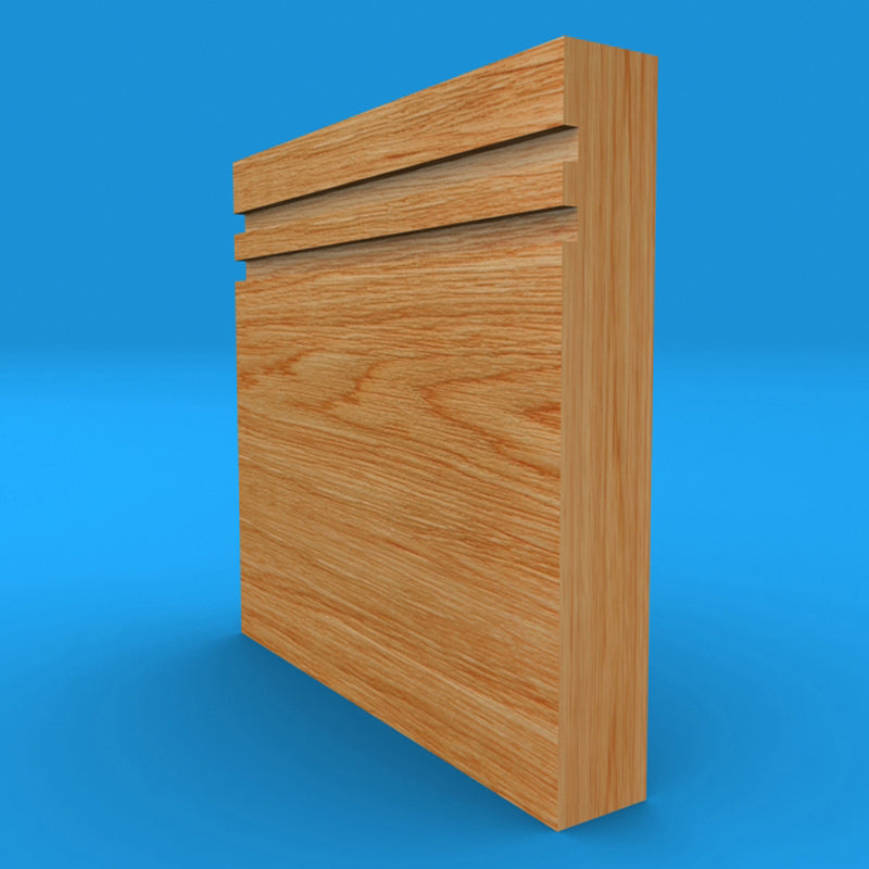 Square Edge Grooved 2 Solid Oak Skirting Board