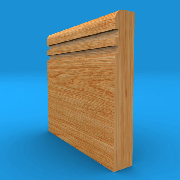 Bullnose Grooved 2 Solid Oak Skirting Board