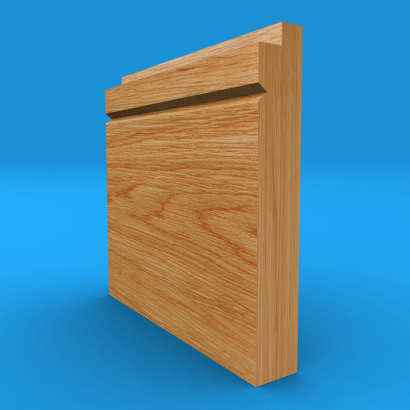 Single Step V Grooved Solid Oak Skirting Board