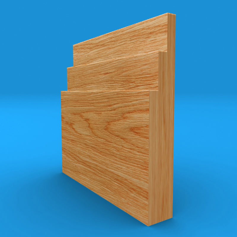 Large Stepped Solid Oak Skirting Board