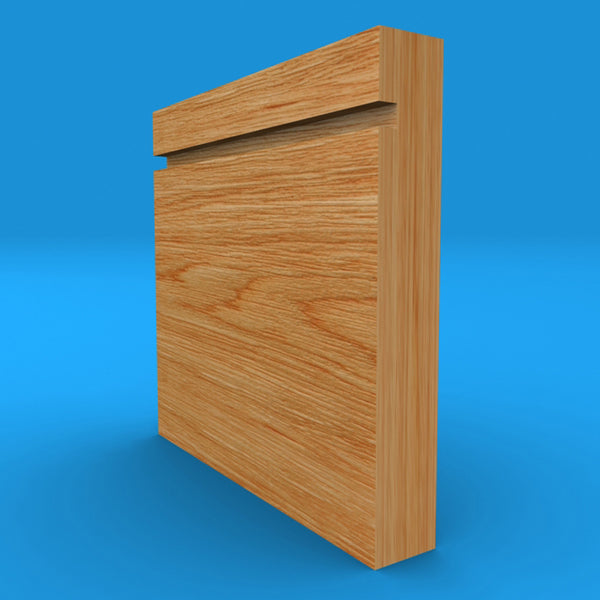 Square Edge Grooved Solid Oak Skirting Board