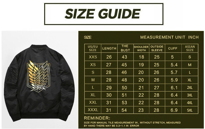 Attack on Titan jacket sizing guide