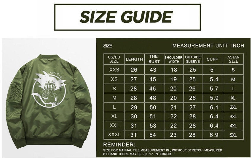 Goku peace bomber jacket sizing guide