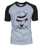 One Piece Monkey D. Luffy Raglan T-Shirt Black Gray