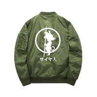 Green Dragon Ball Z Goku bomber jacket back view
