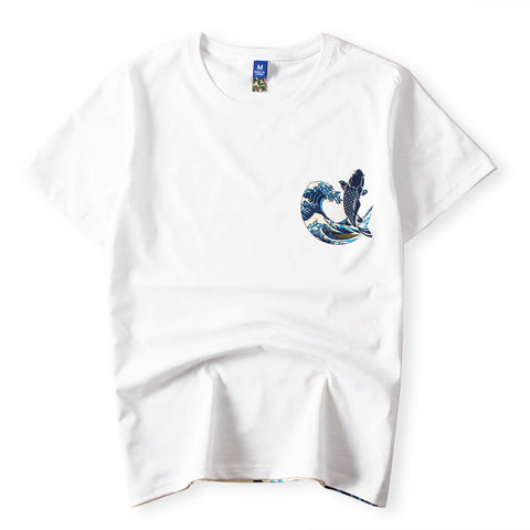 Japanese Ukiyoe Carp Fish T-Shirt White
