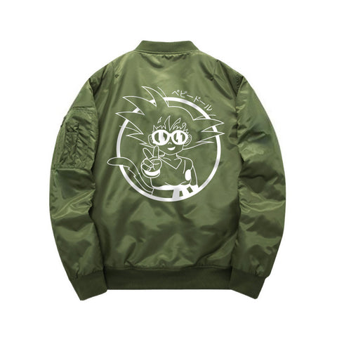 Green Goku Peace Bomber Jacket back view