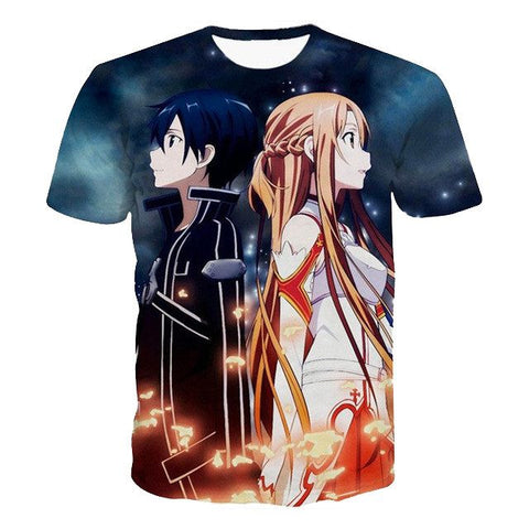 Sword Art Online Kirito & Asuna Anime T-shirt - Otakupicks