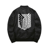 Black Attack On Titan bomber jacket back view