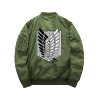 Green Attack On Titan bomber jacket back view